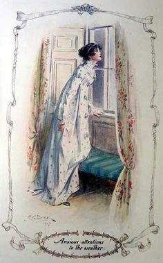 'Anxious attentions to the weather' - Northanger Abbey by Jane Austen. This edition published 1907 by J. Illustration by Charles Edmund Brock, brother of illustrator Henry Matthew Brock. Jane Austen Books, Jane Eyre, Elizabeth Bennet, Vintage Illustration, Looking Out The Window, Empire, Regency Era, Pride And Prejudice, Period Dramas