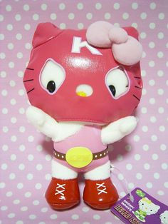 "HELLO KITTY PRO Wrestling Mask Plush Doll Sanrio JAPAN 2007 NEW 7.1"" Pink : *Condition* NEW!  Released by Sanrio JAPAN in 2007 and sold in Japan only.  *Size* About  7.1"" (18cm) in height  54-70.99 (7.90/8.50/11)"