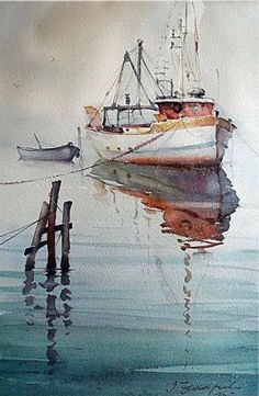 Dusan Djukaric Watercolor, cm For dad Watercolor Water, Watercolor Artists, Watercolor Techniques, Watercolor Landscape, Landscape Paintings, Watercolor Paintings, Watercolours, Boat Art, Boat Painting