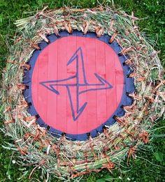 Reconstruction of Slavic shield with straw edging. Territory of Polabian Slavs, Lenzen, Germany