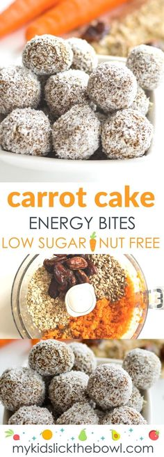 Carrot Oat Energy Bites Carrot oat energy bites, healthy no bake nut free energy ball for kids… no coconut for me, otherwise yes! Carrot oat energy bites, healthy no bake nut free energy ball for kids… no coconut for me, otherwise yes! Healthy Christmas Treats, Healthy Snacks For Kids, Healthy Sweets, Healthy Baking, Vegetarian Meals For Kids, Sugar Free Kids Snacks, Vegetarian Cooking, Dessert Healthy, Vegan Snacks