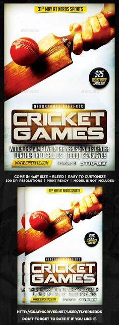 Cricket Games Sports Flyer by flyernerds Cricket Games Sports Flyer Description :46 with bleedPrint Ready ( CMYK, 300DPI ) Easy to edit and fully customizable Model Image