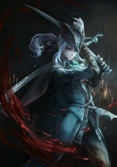 Anime picture bloodborne bloodborne: the old hunters lady maria of the astral clocktower jlien- long hair single tall image highres blue eyes standing ponytail holding aqua hair eyebrows looking down pale skin arms up serious warrior pirate 472271 en Art Dark Souls, Lady Maria, Character Concept, Character Art, Bloodborne Art, Bloodborne Concept Art, Art Manga, 5 Anime, Anime Boys