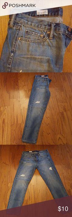 GAP sexy boyfriend jeans Distressed Sexy Boyfriend Jeans... slightly distressed! GAP Jeans Boyfriend