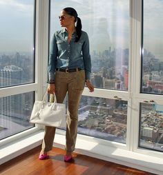 {New Outfit Post} A pop of pink to a preppy outfit today on http://stilettoesq.com/oufits/casual-friday/