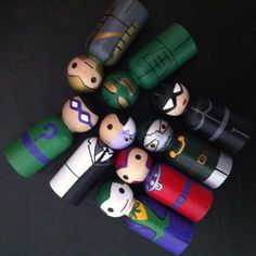 Villians for Superhero Peg People - Set of 8 Wooden Hand Painted peg dolls, superhero toy, wood superhero toy,