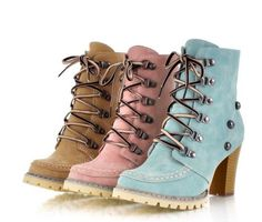 Womens rivet lace up high-top thick high heels Korean casual ankle boots shoes #other #KittenHeels