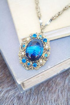 Vintage-West-Germany-Signed-Glass-Cabochon-Rhinestone-Necklace-1950-1960s