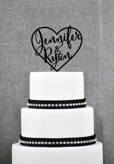 Wedding Cake Toppers with First Names Inside Heart, Personalized Cake Toppers, Elegant Custom Mr and Mrs Wedding Cake Toppers - (S009)