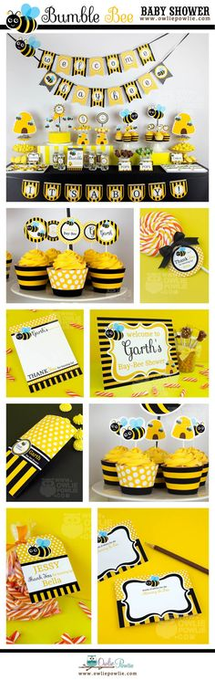 INSTANT DOWNLOAD - YOU EDIT YOURSELF WITH ADOBE READER - PRINT AT HOME  BUMBLE BEE BABY SHOWER DIY Party Printable Package & Invitation  ►All text is