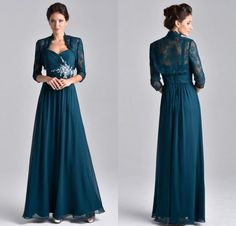 2015 Plus Size Two Piece Teal Blue Chiffon Mother Of The Bride Dress With 3/4 Long Sleeve Lace Jacket Crystal Mother Evening Gowns DL1314610, $116.6 | DHgate.com