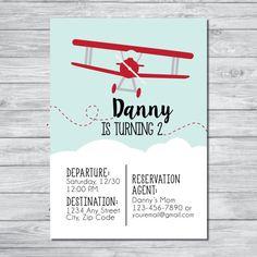 Plane Birthday Party Invitation, Kids Plane Birthday Party Invite, Digital Invitation