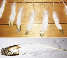 ryan + michelle + ellie: DIY gold + glitter dipped feathers:  these are gorgeous!  I also now know how to paint my crocodile skull a pearly white glitter with gold teeth (thanks to HGTV for the inspire on the croc).  YAY!!