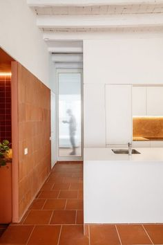 Exposed brickwork, vaulted ceilings and terracotta floor tiles feature throughout this renovated Barcelona apartment by Spanish architecture studio CRÜ. Home Tiles Design, Painted Brick Walls, Spanish Interior, Barcelona Apartment, Apartment Entrance, Terracotta Floor, Interior Architecture, Interior Design, Interior Paint