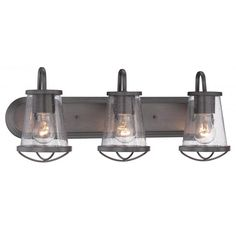 Buy the Designers Fountain Weathered Iron Direct. Shop for the Designers Fountain Weathered Iron Darby 3 Light Wide Bathroom Vanity Light with Seedy Glass Shades and save. Rustic Bathroom Lighting, Bathroom Wall Lights, Glass Bathroom, Rustic Lighting, Bathroom Vanity Lighting, Bar Lighting, Light Bathroom, Bathroom Ideas, Master Bathroom