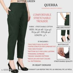 Checkout this latest Women Trousers Product Name: *Women Comfort Stretchable Trouser* Fabric: Lycra Pattern: Solid Multipack: 1 Sizes:  26, 28, 30, 32, 34, 36, 38, 40, 42 Country of Origin: India Easy Returns Available In Case Of Any Issue   Catalog Rating: ★4.1 (2988)  Catalog Name: Women Comfort Stretchable Trouser CatalogID_1646493 C79-SC1034 Code: 013-9390722-327