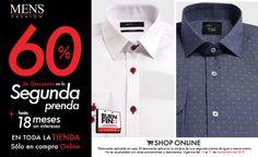 ¿#Camisa con o sin estampado?, ¿blanca o color atrevido? No te preocupes, llévate la segunda prenda con descuento: 50% OFF en sucursal o 60% en tienda online.  Dale clic: www.mensfashion.com.mx