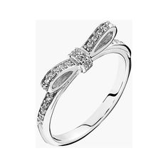 PANDORA 'Sparkling Bow' Ring ($55) ❤ liked on Polyvore featuring jewelry, rings, pandora, pandora rings, stackable rings, sparkle jewelry, crown ring and sparkly rings