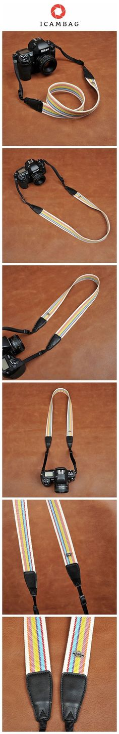 Stripe Cotton DSLR Camera Strap Fit All Camera 8247 Handmade with top layer cow leather and denim. It can fit almost every DSLR, SLR and some larger digital cameras. **********************************