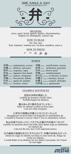 Learn one Kanji a day with infographic: 弁 (ben)