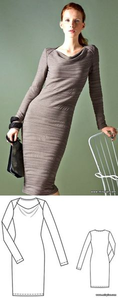 Dress with wavy collar / free patterns...♥ Deniz ♥