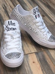 by groomSource by groom Add sparkle to your converse using silver Swarovski crystals! Pearl Converse Wedding Converse Bling Converse Diamonds and Wedding Tennis Shoes, Converse Wedding Shoes, Wedding Sneakers, Bride Converse, Sparkle Wedding Shoes, Diy Wedding Shoes, Wedge Wedding Shoes, Wedding Bride, Sandals