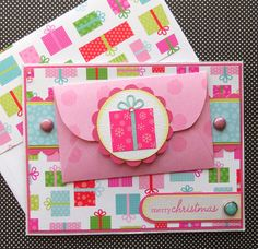 Christmas Card / Giftcard Holder with Matching Embellished Envelope - Sweet Treat