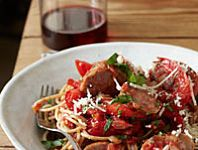 Whole-Wheat Spaghetti with Sausage and Peppers Recipe