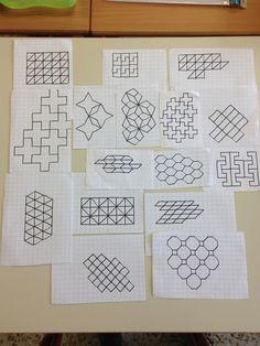 Graph Paper Drawings, Graph Paper Art, Pattern Paper, Pattern Art, Blackwork Cross Stitch, Blackwork Embroidery, Tangle Patterns, Cross Stitch Patterns, Basic Geometry