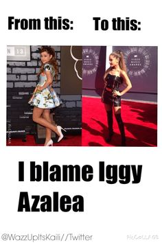 Dont be hatters its not Iggy its Arianas choice to how she acts/dresses/sings its arianas choice