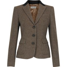 Herringbone Tweed Riding Jacket (7,565 THB) ❤ liked on Polyvore featuring outerwear, jackets, blazers, coats, coats & jackets, women, herringbone jacket, brown tweed blazer, tweed jacket and brown jacket