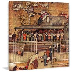 Marmont Hill Commuters by Norman Rockwell Painting Print on Canvas, Size: 18 inch x 18 inch, Multicolor