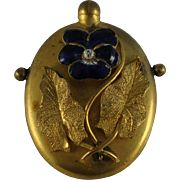Art Nouveau Pansy Perfume Bottle Raised Applied Design Enameled Gilded Signed