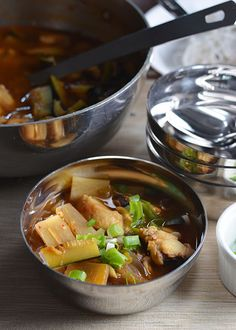 agu jjim or spicy Korean monkfish stew Spicy Recipes, Seafood Recipes, Asian Recipes, Healthy Recipes, Ethnic Recipes, Monkfish Recipes, K Food, True Food, Kitchens