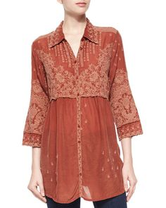 Johnny Was Collection Austin 3/4-Sleeve Empire-Waist Embroidered Blouse