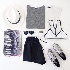 Bassike Top, The Collaborators Shorts, Karen Walker Sunglasses, Dezso Pouch Bag, This Is First Base Bra, Vans Shoes || WWW.TUCHUZY.COM