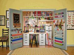 20 Crafty Workspace + Storage Ideas from Ikea. Love Ikea for my craft room. Craft Room Storage, Craft Organization, Storage Ideas, Craft Rooms, Diy Storage, Closet Storage, Organizing Crafts, Pegboard Storage, Ribbon Storage
