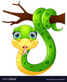 Happy green snake on the branch vector image on Art Drawings For Kids, Cute Animal Drawings, Drawing For Kids, Art For Kids, Rock Painting Designs, Paint Designs, Cartoon Butterfly, Jungle Theme Birthday, Branch Vector