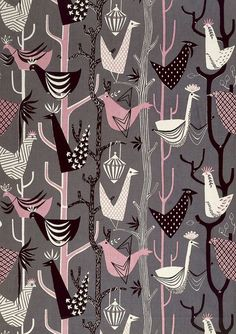 pink grey black and white. 1950s fabric