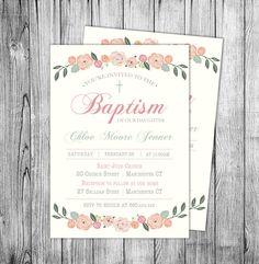 Invitación de niña bautismo bautizo invitaciones imprimibles Baby niña bautismo invitar Floral elegante flores invita a Rosa corona (archivo DIGITAL)