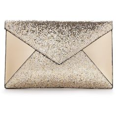 Glitter Panel Envelope Clutch (25 AUD) ❤ liked on Polyvore featuring bags, handbags, clutches, gold glitter handbag, pink glitter purse, pink purse, glitter purse and gold envelope clutch bag