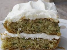 Anissa's Kitchen: Zucchini cake recipe for one cake This recipe can be frozen, frosting and all TO VEGANIZE: Chia + Water instead of eggs Just Desserts, Delicious Desserts, Yummy Food, Healthy Desserts, Cake Recipes, Dessert Recipes, Zuchinni Recipes, Zucchini Cake, Cream Of Chicken Soup
