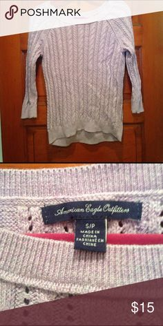 American eagle sweater Light heathered purple open cable knit sweater. 3/4 sleeve. Excellent condition free of rips or stains. American Eagle Outfitters Sweaters Crew & Scoop Necks