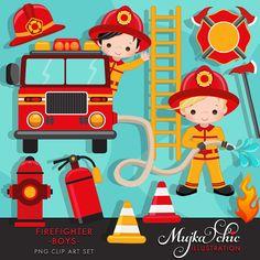 Fire-Fighter Jungs clipart Feuerwehrmann Clipart für Jungen. Dieses süße Set besteht aus 8 junge Feuerwehrleute Zeichen, 4 in das Feuerwehrauto und 4 setzen das Feuer mit Feuerwehrschlauch. Süße Elemente wie Feuerlöscher, Hydranten, Leitkegel, werden Feuer Koch Emblem und Feuer Graphiken mit