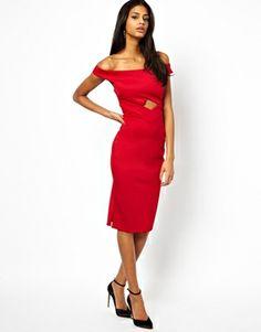 ASOS – Bardot – Figurbetontes Kleid mit Zierausschnitten