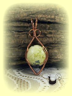 Copper Pendent Wire Wrapped Yellow Turquise Stone by ChickNWire, $32.00