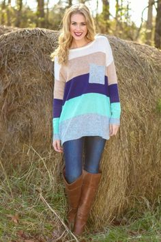 Obsessed! The perfect oversized, stripe sweater! You will never want to take this off! Cozy & fashionable!