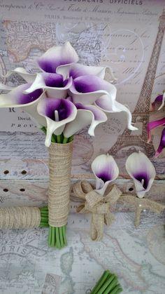 Wedding Bouquet 17 piece Real Touch Purple White Lavender Calla Lily Set, purple Bridal Bouquet Wedding Flower Set, Purple Bouquet