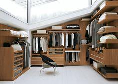 contemporary walk-in wardrobe - warm mid toned wood