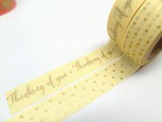 Thinking of You Gold Washi Tape,  Gold Polka Dot Washi Tape Set of 2, 15mm x 10m by chickydoddle on Etsy